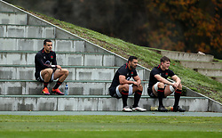 England's Alex Lozowski, Ben Te'o and Ted Hill during the training session at Pennyhill Park, Bagshot.