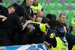 Green Dragons in fight with security guard during the football match between NK Olimpija and NK Maribor, played in the 4th Round of Prva liga football league 2010 - 2011, on September 29, 2010, SRC Stozice, Ljubljana, Slovenia. (Photo by Matic Klansek Velej / Sportida)