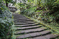Jochiji Stairs & Belltower Jochiji ranks 4th of the five great Zen Buddhist temples of Kamakura -  a branch of Engakuji located a few hundred meters away. Jochi-ji was founded in 1283 by the ruling Hojo family, to honor the premature death of their son. This was once a large temple complex with many sub-temples but now it is calm.  Behind the temple a circular path leads through the temple garden past caves and a graveyard.  At the temple's entrance at the bottom of the hill is one of the ten celebrated wells of Kamakura.  Jochiji is unique in that it has a two storey main gate with a bell on the second floor, an unusual combination at Japanese temples.  In addition the shape of the windows are in the shape of bells. The bell itself was cast in 1340.  At its peak, the Temple had 11 different structures including the main hall as well as numerous sub-temples, with 500 residents in the temple precinct.  Many people are familiar with Jochiji as it is alongside the Daibutsu Hiking Trail.  Many visitors hiking or making pilgrimage to the Great Buddha of Kamakura along this trail pass by Jochiji and many stop for a visit en route.