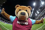 Bubbles the West Ham United mascot looks on during pre match warm up. The Emirates FA cup, 4th round replay match, West Ham Utd v Liverpool at the Boleyn Ground, Upton Park  in London on Tuesday 9th February 2016.<br /> pic by John Patrick Fletcher, Andrew Orchard sports photography.