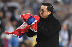 Aiyawatt Srivaddhanaprabha, son of Leicester City chairman, Vichai Srivaddhanaprabha applauds the fans after the final whistle during the Premier League match at the King Power Stadium, Leicester.