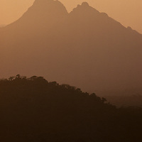Sunset over jungle covered mountains, Cockscomb Basin Wildlife Preserve, Belize
