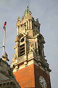 Architectural detail of clock tower of the Guildhall building, Colchester, Essex, England