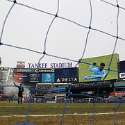 NEW YORK, NEW YORK - March 18:  Rodney Wallace #23 of New York City FC is shown on the stadium screen as he celebrates after scoring as goalkeeper Evan Bush #1 of Montreal Impact stands dejected during the New York City FC Vs Montreal Impact regular season MLS game at Yankee Stadium on March 18, 2017 in New York City. (Photo by Tim Clayton/Corbis via Getty Images)