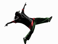 one hip hop acrobatic break dancer breakdancing young man silhouette white background