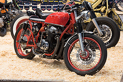 Custom Honda CB 750 4-cylinder cafe racer in the Custom and Tuning Show in Moscow, Russia. Friday April 21, 2017. Photography ©2017 Michael Lichter.