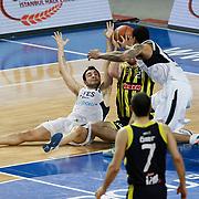 Efes Pilsen's Ender ARSLAN (L) during their Turkish Basketball league derby match Efes Pilsen between Fenerbahce Ulker at the Sinan Erdem Arena in Istanbul Turkey on Sunday 24 April 2011. Photo by TURKPIX