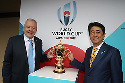 KYOTO, JAPAN - MAY 10: (L-R) Bill Beaumont, Chairman of World Rugby and Shinzo Abe, Prime Minister of Japan pose with The William Webb Ellis Cup during the Rugby World Cup 2019 Pool Draw at the Kyoto State Guest House on May 10, in Kyoto, Japan. Photo by Dave Rogers - World Rugby/PARSPIX/ABACAPRESS.COM
