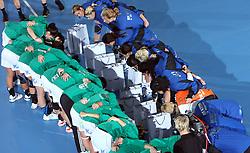 Teams before the EHF Champions league handball match in Group II between RK Krim Mercator and Gyori Audi Eto KC, on February 7, 2009, in Kodeljevo, Ljubljana, Slovenia. Gyori won 35:31. (Photo by Vid Ponikvar / Sportida)