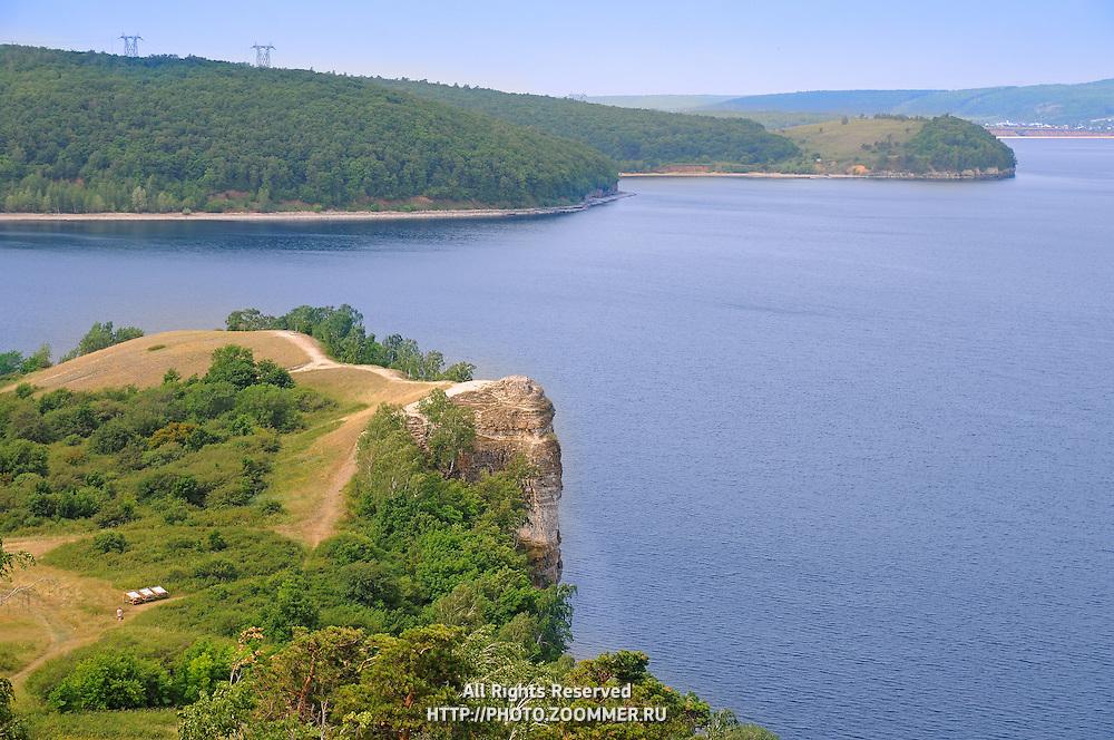 "Beautiful scenery of Volga river in Russian National park ""Samarskaya Luka"". Near the Volga hydroelectric station and dam"