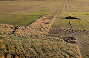 Top soil stripped away and exposed by commercial turf faming, Alderton, Suffolk, England, UK