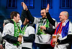 Miha Zarabec, Borut Mackovsek during reception of Slovenian National Handball Men team after they placed third at IHF World Handball Championship France 2017, on January 30, 2017 in Mestni trg, Ljubljana centre, Slovenia. Photo by Vid Ponikvar / Sportida