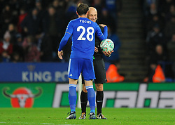Christian Fuchs of Leicester City talks to referee Roger East during the penalty shoot-out- Mandatory by-line: Nizaam Jones/JMP- 27/11/2018- FOOTBALL - King Power Stadium- Leicester, England - Leicester City v Southampton - Carabao Cup