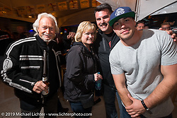 Arlen Ness (L) with his Grandson Zach (R) and Steve Menneto, the President of Motorcycles at Polaris Industries at Victory Motorcycles Party at the Main Street Station bar on Main Street during the Daytona Bike Week 75th Anniversary event. FL, USA. Saturday March 5, 2016.  Photography ©2016 Michael Lichter.