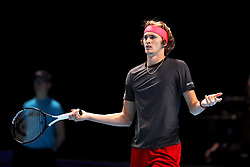 Alexander Zverev appears frustrated during the men's singles match during day six of the Nitto ATP Finals at The O2 Arena, London.