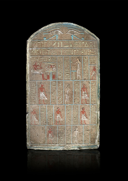 Ancient Egyptian stele of commander in chief Senebetysy, sandstone, Middle Kingdom, 13th Dynasty, (11759-1700 BC), Deir el-Medina, Old Fund cat 1629. Egyptian Museum, Turin. black background, <br /> <br /> Stet for the commander in chief of the city regiment of Sarenenutrt, son of Sainyt and his wife Senebtysy. .<br /> <br /> If you prefer to buy from our ALAMY PHOTO LIBRARY  Collection visit : https://www.alamy.com/portfolio/paul-williams-funkystock/ancient-egyptian-art-artefacts.html  . Type -   Turin   - into the LOWER SEARCH WITHIN GALLERY box. Refine search by adding background colour, subject etc<br /> <br /> Visit our ANCIENT WORLD PHOTO COLLECTIONS for more photos to download or buy as wall art prints https://funkystock.photoshelter.com/gallery-collection/Ancient-World-Art-Antiquities-Historic-Sites-Pictures-Images-of/C00006u26yqSkDOM