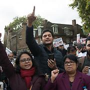 Parliament Square, London, UK. 2021-10-27:  Protestors allege atrocities against Hindus & minorities in Bangladesh. The violent break-up following Indian Prime Minister Modi's visit to Bangladesh, Bangladeshi alleges Modi, the massacre of Muslim & minorities in India.