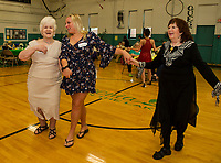 Virginia, Lexys and June tear up the dance floor during the Senior Senior dance Thursday evening at the Laconia Community Center.  (Karen Bobotas/for the Laconia Daily Sun)
