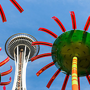 Space Needle and flower sculptures at Seattle Center
