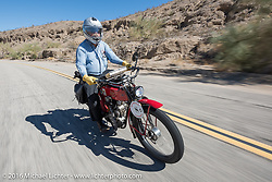 Joe Gimpel of Florida riding his Class-1 single-cylinder single-speed 1913 Thor during the Motorcycle Cannonball Race of the Century. Stage-14 ride from Lake Havasu CIty, AZ to Palm Desert, CA. USA. Saturday September 24, 2016. Photography ©2016 Michael Lichter.
