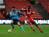 Fleetwood Town's Conor McLaughlin battles with Bristol City's Tammy Abraham<br /> <br /> Photographer Ashley Crowden/CameraSport<br /> <br /> Emirates FA Cup Third Round - Bristol City v Fleetwood Town - Saturday 7th January 2017 - Ashton Gate - Bristol<br />  <br /> World Copyright © 2017 CameraSport. All rights reserved. 43 Linden Ave. Countesthorpe. Leicester. England. LE8 5PG - Tel: +44 (0) 116 277 4147 - admin@camerasport.com - www.camerasport.com