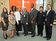 Ortiz Middle School staff pose for a photograph following a Broad Foundation research team tour, May 29, 2013.