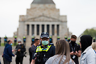 Police caution protesters during the Melbourne Freedom Rally at The Shrine. Premier Daniel Andrews promises 'significant' easing of Stage 4 restrictions this weekend. This comes as only one new case of Coronavirus was unearthed over the past 24 hour and no deaths. (Photo by Dave Hewison/Speed Media)
