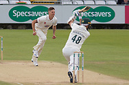 Colin Ackemann drives Brydon Carse during the Specsavers County Champ Div 2 match between Durham County Cricket Club and Leicestershire County Cricket Club at the Emirates Durham ICG Ground, Chester-le-Street, United Kingdom on 20 August 2019.