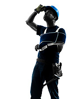 one manual worker man in silhouette on white background