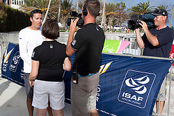 Taylor Canfield being interviewed by television crews during qualifying session 2 of the Argo Group Gold Cup 2010. Hamilton, Bermuda. 6 October 2010. Photo: Subzero Images/WMRT
