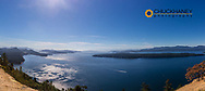 Panoramic view of Gulf Islands from the summit of Mount Galiano on Galiano Island, British Columbia, Canada