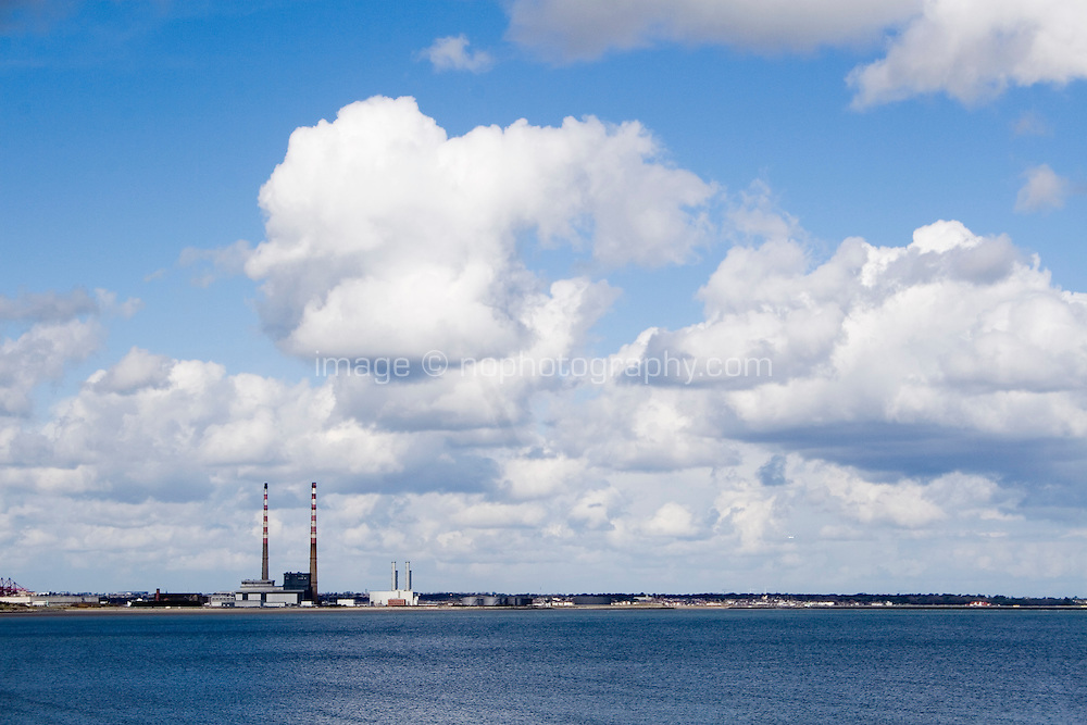 View of Ringsend powerstation and Dublin bay from Blackrock in Dublin Ireland