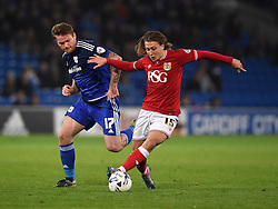 Luke Freeman of Bristol City battles for the ball with Aron Gunnarsson of Cardiff City  - Mandatory byline: Joe Meredith/JMP - 07966 386802 - 26/10/2015 - FOOTBALL - Cardiff City Stadium - Cardiff, Wales - Cardiff City v Bristol City - Sky Bet Championship