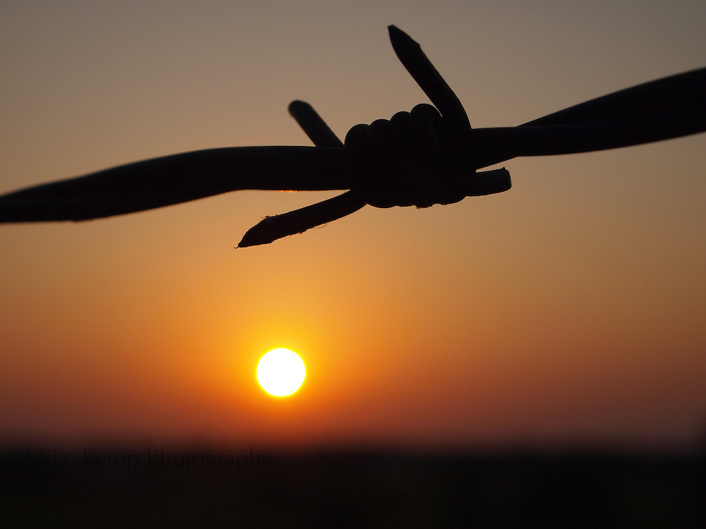 A barbed wire fence is silhouetted by the setting sun on a rural Perry County road.