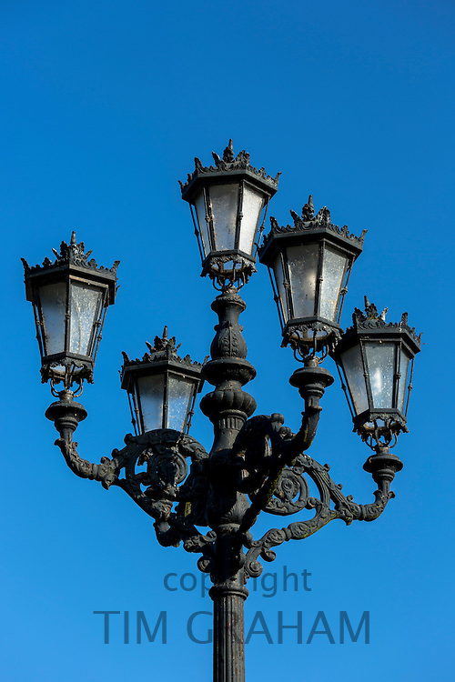 Traditional street lamp in San Vicente de la Barquera, Cantabria, Spain