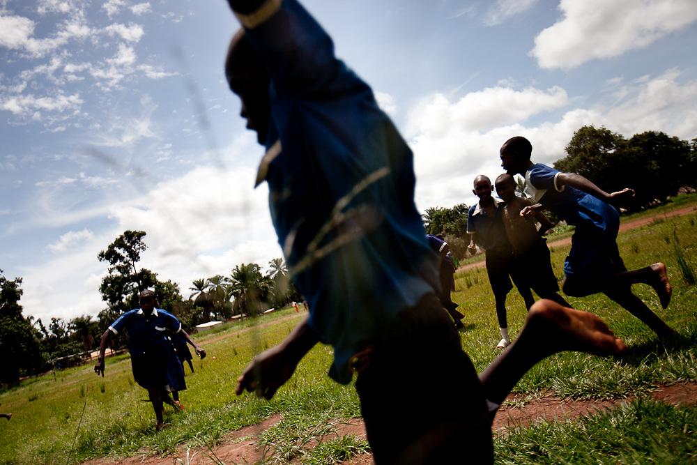 Children play soccer near Yambio the scene of numerous LRA attacks.