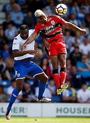 Steve Mounie of Huddersfield Town challenges for a header with Nathan Cameron of Bury - Mandatory by-line: Matt McNulty/JMP - 16/07/2017 - FOOTBALL - Gigg Lane - Bury, England - Bury v Huddersfield Town - Pre-season friendly