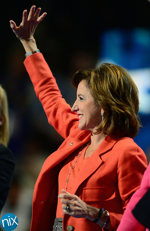 North Carolina Senator Kay Hagen joins other female members of the Senate on stage during the second night of the Democratic National Convention at Time Warner Cable Arena in Charlotte Wednesday, Sept. 5, 2012. (Photo by James Nix).