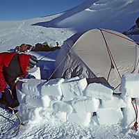 ANTARCTICA, Mount Vinson Expedition. Dr.Lis Densmore (MR) builds snow wall below continent's highest summit to protect camp from high polar winds. Sentinel Range, Ellsworth Mountains.
