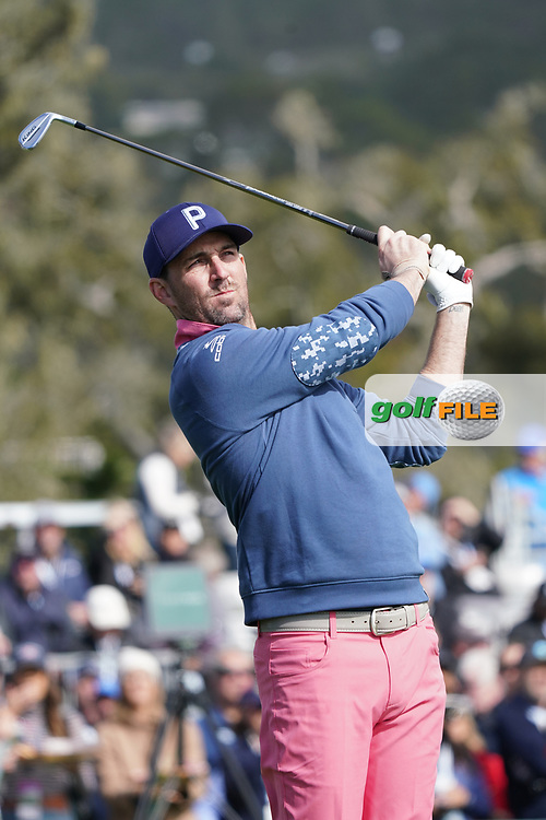 Country & Western singer Jake Owen in action during the third round of the AT&T Pro-Am, Pebble Beach, Monterey, California, USA. 07/02/2020<br /> Picture: Golffile   Phil Inglis<br /> <br /> <br /> All photo usage must carry mandatory copyright credit (© Golffile   Phil Inglis)