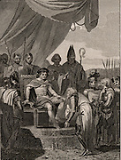 The English Barons presenting Magna Carta to King John (1167-1216, king of England from 1199) at Runnymede, near Windsor.  Magna Carta, the Great Charter of Liberties which the king signed on 15 June 1215 under threat of civil war. From 'The Imperial History of England' by John Watkins (London, 1832). Engraving.