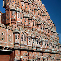 Asia, India, Jaipur. Palace of the Winds street facade.
