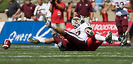 Texas A&M quarterback Ryan Tannehill is sacked while playing at the University of New Mexico on Saturday, Sept. 6, 2008 in Albuquerque, New Mexico.