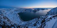 Panoramic winter view over Haukland beach from Mannen, Vestvågøy, Lofoten Islands, Norway