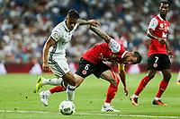 Real Madrid's Mariano and Stade de Reims Devaux during the XXXVII Bernabeu trophy between Real Madrid and Stade de Reims at the Santiago Bernabeu Stadium. August 15, 2016. (ALTERPHOTOS/Rodrigo Jimenez)