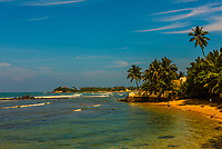 Coastline of the south coast of Sri Lanka at Unawatuna, Southern Province.