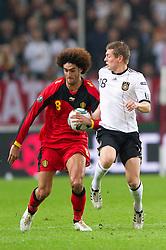 11.10.2011, Esprit Arena, Duesseldorf, GER, UEFA EURO 2012 Qualifikation, Deutschland (GER) vs Belgien (BEL), im Bild Zweikampf Marouane Fellaini (#8 BEL) und Toni Kroos (#18 GER, Bayern Muenchen) // during the UEFA Euro 2012 qualifying round Germany vs Belgium  at Esprit Arena, Duesseldorf 2011-10-11 EXPA Pictures © 2011, PhotoCredit: EXPA/ nph/  Kurth       ****** out of GER / CRO  / BEL ******