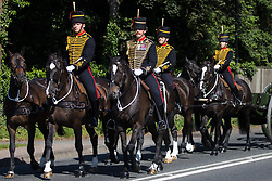 Windsor, UK. 9th June, 2021. King's Troop Royal Horse Artillery approach the Long Walk in Windsor Great Park for a dress rehearsal at Windsor Castle for Trooping the Colour. A socially distanced and scaled down Trooping the Colour ceremony to mark the Queen's birthday will take place at Windsor Castle on 12th June incorporating many of the elements from the annual ceremonial parade on Horse Guards, with F Company Scots Guards Trooping the Colour of the 2nd Battalion Scots Guards in the Castle Quadrangle.