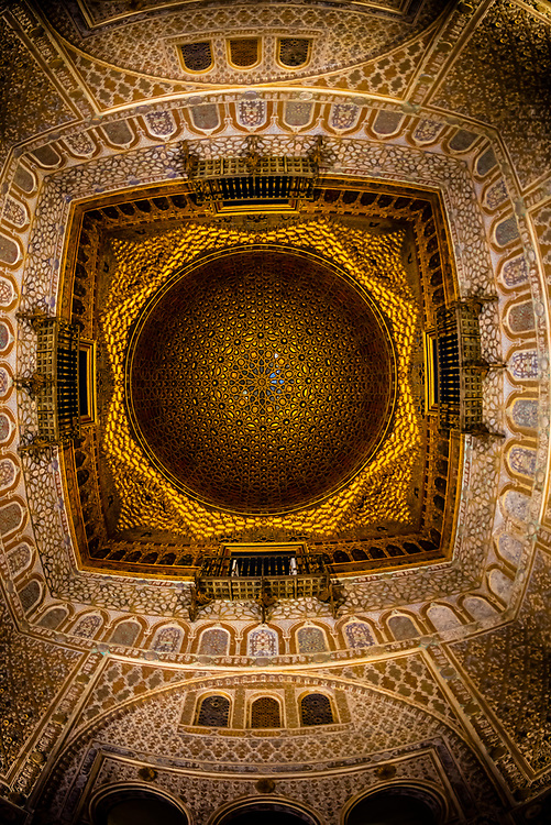 Ornate ceiling, The Alcázar of Seville (Real Alcazar) is a royal palace in Seville, Spain, built for the Christian king Peter of Castile.