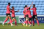 Peterborough United midfielder Jermaine Anderson celebrates scoring the thirst goalduring the Sky Bet League 1 match between Coventry City and Peterborough United at the Ricoh Arena, Coventry, England on 31 October 2015. Photo by Alan Franklin.